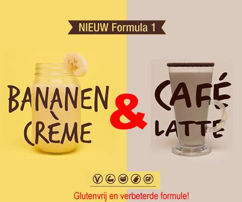 Nieuwe generatie formule 1 shake: Bananen crème en Café latte